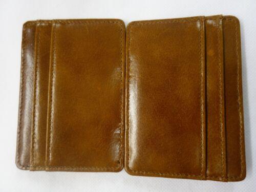 Lujo Cuero en Caja De Regalo Mini magia billetera soporte de tarjeta de crédito//Color Bronceado