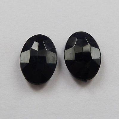 free ship 300pcs black acrylic crystal oval Flatback Beads 14x10mm no hole