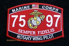 MOS 7597 ROTARY WING PILOT PATCH US MARINES PIN UP COIN WOW USS FMF GIFT