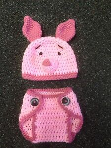 Hand Crochet Baby Piglet Photo prop Diaper Cover and Hat ...