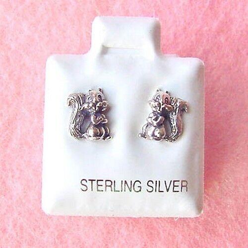Sterling Silver Squirrel Stud Earrings SE069