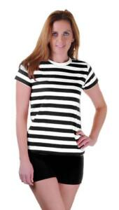 Girls-Ladies-Women-Black-Red-Blue-and-White-Striped-Book-Week-T-Shirt-Fancy-Top