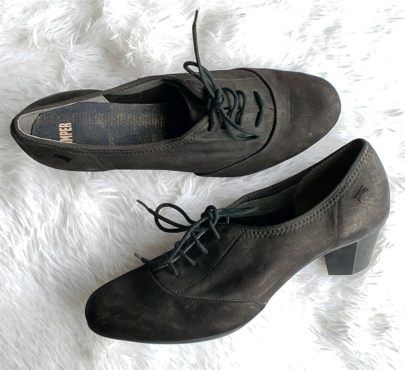 CAMPER Kim Black Nubuck Leather Oxford Pumps Low Heel Size 40
