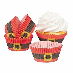 100 Christmas Santa Suit Paper Cupcake Baking Liners Cups