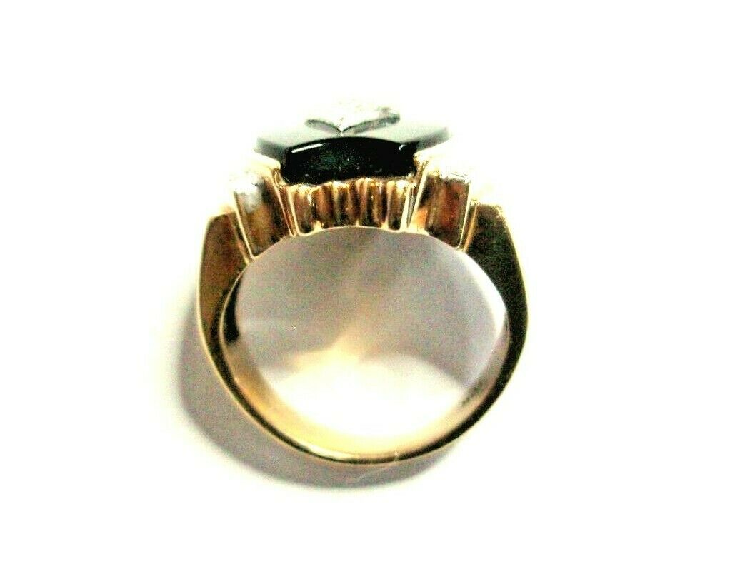 Heavy 8g Unisex 10K 2-Tone Gold Ring Solitaire On… - image 4