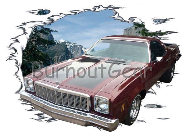 1973 Burgundy Chevy El Camino Custom Hot Rod Mountain T-Shirt 73 Muscle Car Tees