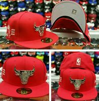 Era Red Nba Chicago Bulls Metal Badge Logo Fitted Hat 6x Champions Side