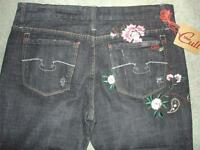 Blue Cult Black Wash Paisley Embroidered Jeans Womens 29 Long 34 Inseam