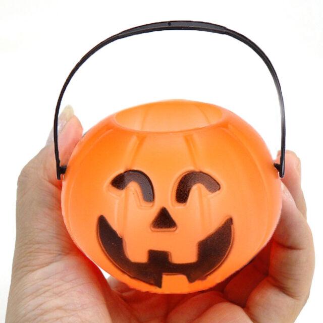 Halloween Party Cosplay Props Plastic Pumpkin Bucket Trick Decor Pouch Holder L