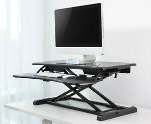 image is loading height adjustable standing desk monitor riser tabletop sit - Height Adjustable Standing Desk