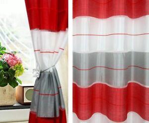 Cortinas-De-Ojales-2-piezas-Juego-Para-Una-ventana-Medio-Transparente-con-gd-v