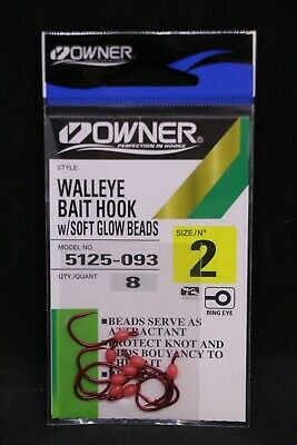 Red Owner Walleye Bait Hook with Soft Glow Beads Size 2 Pack of 8