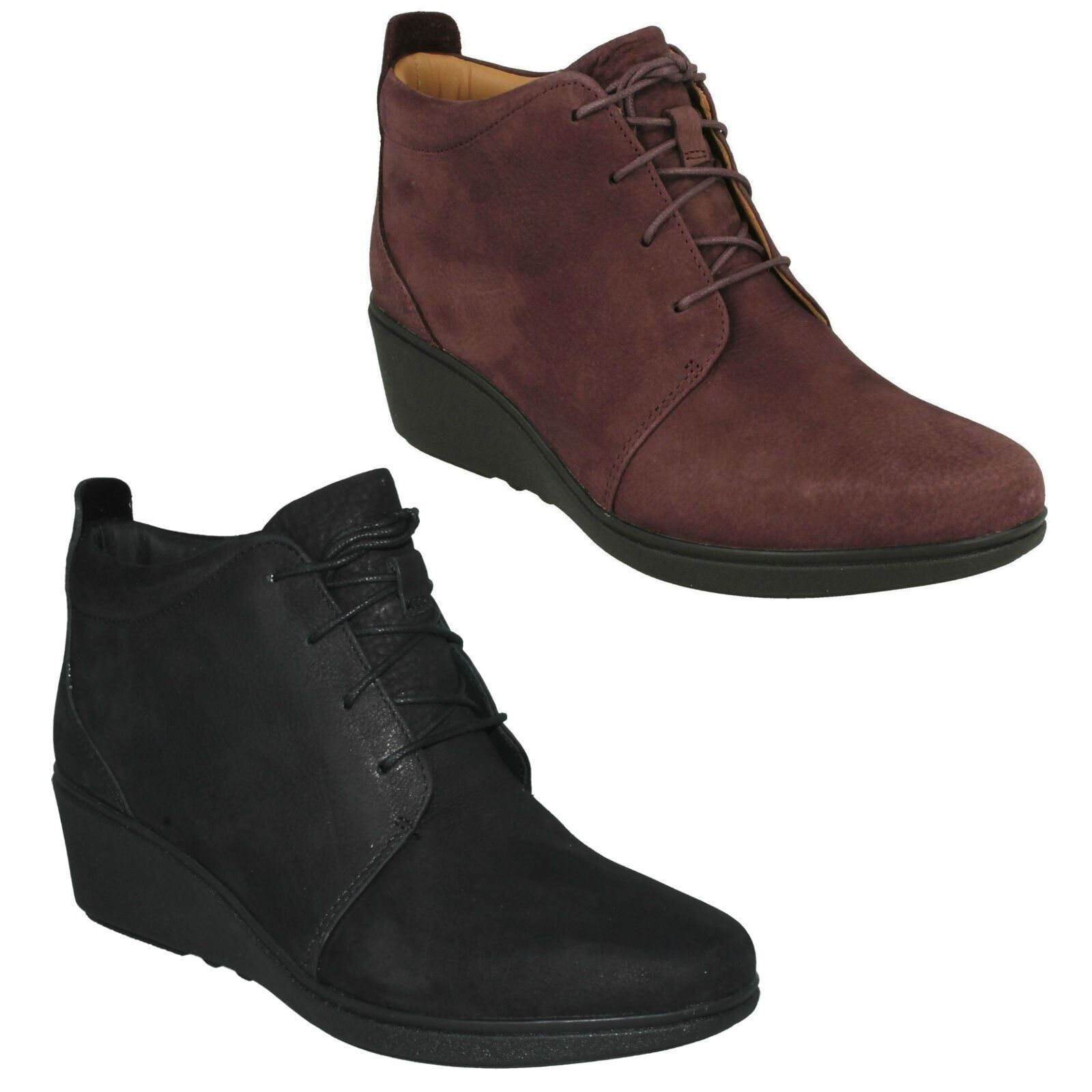 LADIES CLARKS UNSTRUCTURED UN NUBUCK LACES CASUAL ANKLE BOOTS SHOES UN UNSTRUCTURED TALLARA EVA 979f42