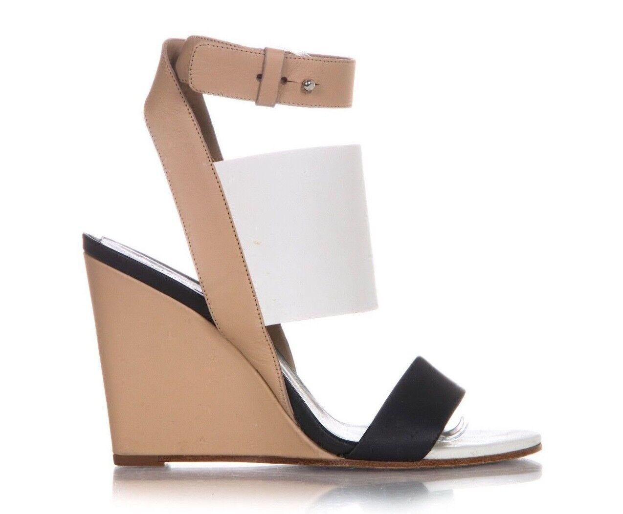 Vince Cuña Tacón US 7 7 7 EU 37.5 Piel Marrón blancoo Negro Cuero Sandalias De Tobillo  punto de venta de la marca