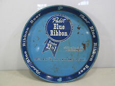 Vintage Pabst Blue Ribbon Round Blue Beer Tray