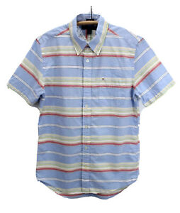 Tommy-Hilfiger-Button-Down-Slim-Fit-Shirt-Short-Sleeve-Collared-Mens-Medium