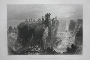 DUNNOTAR-CASTLE-SCOTLAND-original-antique-Victorian-print-Finden-c-1841
