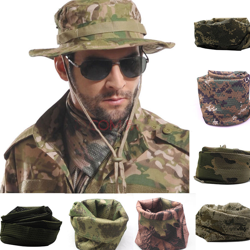 Details about Mens Hidden Camo Cargo Army Wrap Neck Scarf Military Scrim  Net Sniper Face Veil