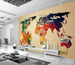 3D Aircraft Painted Map Paper Wall Print Wall Decal Wall Deco Indoor Murals