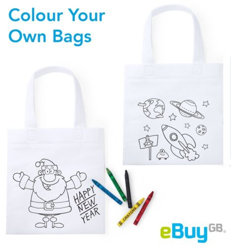 Colour Your Own Bag Non Woven Tote Bags Kids Craft Activity Themed 5 Wax Crayons