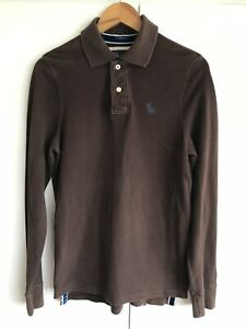 Abercrombie-and-fitch-Muscle-fit-mens-brown-long-sleeve-polo-shirt-size-S-Small