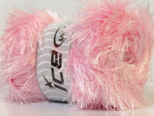 Lot of 4 x 100gr Skeins Ice Yarns EYELASH 100GR Hand Knitting Yarn Baby Pink