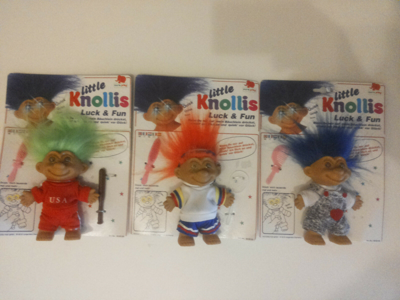 Vintage 3 Little Knollis Figuren  Neu & Ovp  Trolle von Europlay