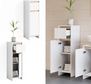 Mobile Bagno Colonna Armadietto Basso Design Moderno Bianco E Rovere 95x30x30 Cm Ebay