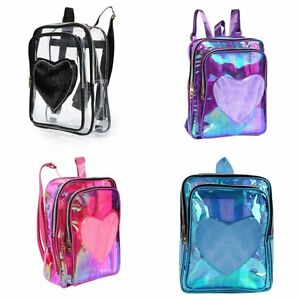 Women-039-s-Fashion-Transparent-PVC-Heart-Shape-Style-SchoolBag-Tote-Travel-Backpack