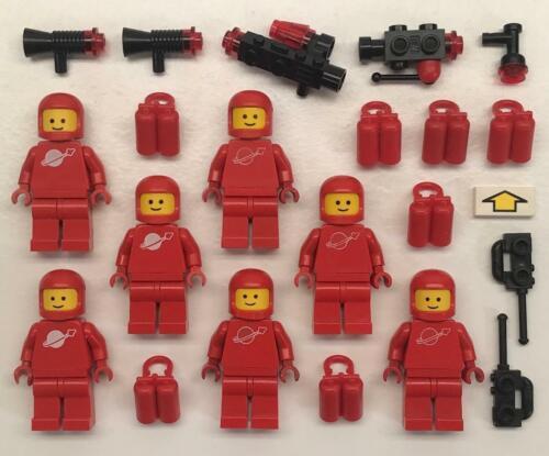 7 Lego Red Classic Space Minifigs Lot futuron vintage figures men 1980s