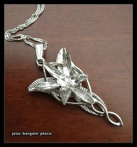 White gold gf the lord of rings arwen evenstar necklace crystal new image is loading white gold gf the lord of rings arwen aloadofball Images
