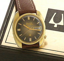 Bulova Swiss Accutron 2182 Day/Date Wrist Watch with Orig Trademarked Crown