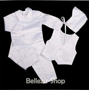 4 Pcs White Baby Boy Satin Baptism Christening Long Suit Bonnet Size 0-12m 020