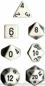 Chessex Opaque Polyhedral dice set white with black numbers 7 die set
