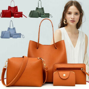Set-Of-4pcs-Women-Lady-Leather-Handbag-Shoulder-Tote-Purse-Satchel-Messenger-TK
