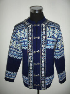 Nordstrikk Norweger Strickjacke Wolljacke norway jacke Wolle blau hippie M