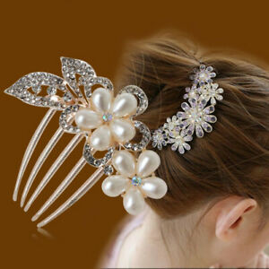 Crystal-Rhinestone-Flower-Wedding-Bridal-Hair-Comb-Hairpin-Clips-Accessories