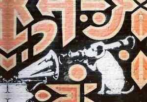Banksy-Hmv-Dog-Rocket-Launcher-A3-Sign-Aluminium-Metal-Large