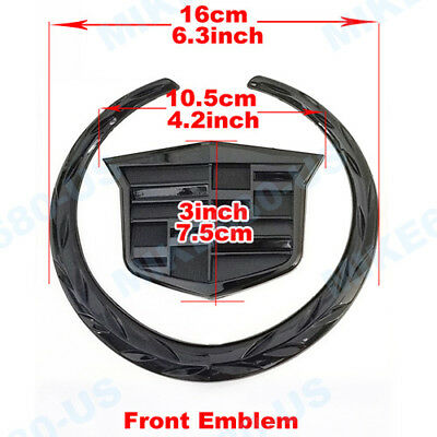 """Front Grille Hood Emblem Wreath Crest Badge for CADILLAC Sticker BLACK 6.3*5.75/"""""""