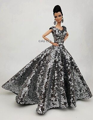 RainBow Sequin Evening Dress Outfit Gown For Barbie Silkstone Fashion Royalty FR