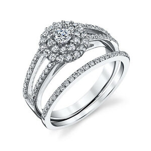 Sterling-Silver-CZ-Engagement-Wedding-Ring-Set-Cubic-Zirconia-amp-Matching-Band