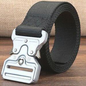 Mens Military Grade Black Belt Combat Man Solid Metal Silver Buckle Tough U C US