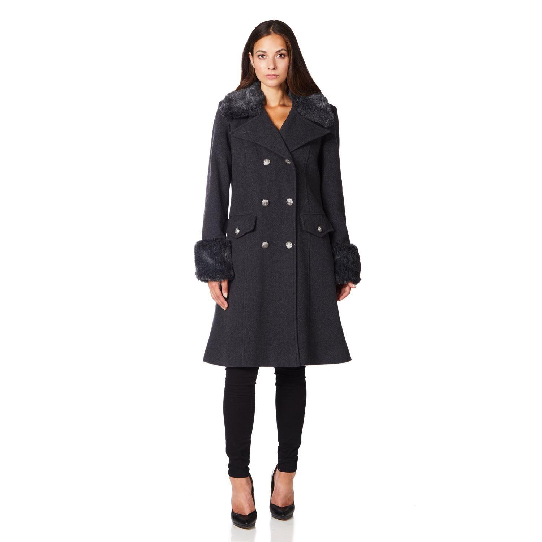 De La Creme - Grey Womens Military Cashmere Wool Winter Coat Fur Collar