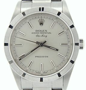 Rolex-Air-King-Precision-Men-Stainless-Steel-Watch-Oyster-Band-Silver-Dial-14010