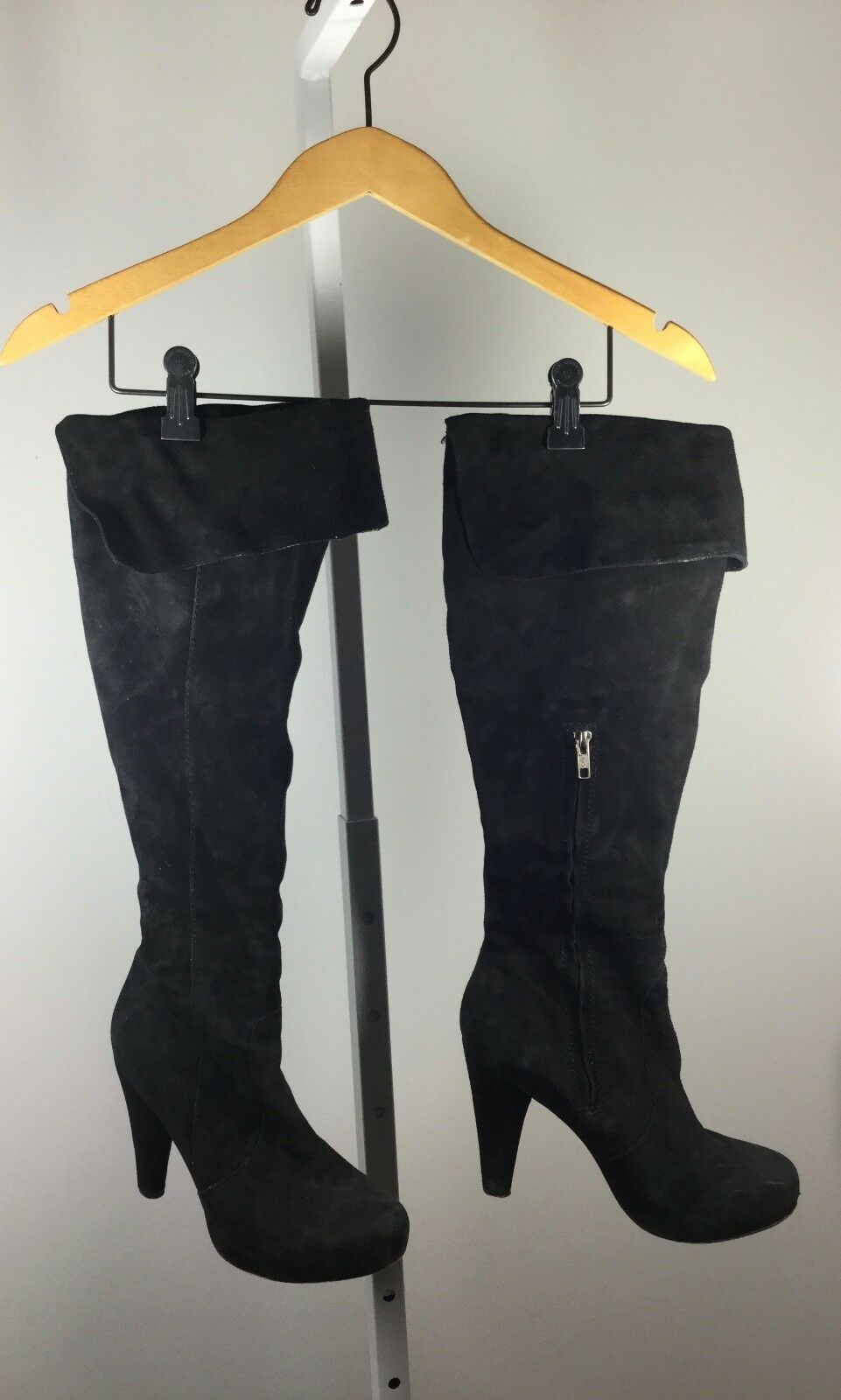 CYNTHIA VINCENT Black Suede High Roll Down Platform Knee High Suede Boot Size 7 1db417