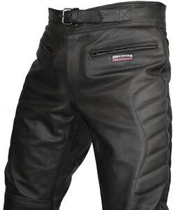 7f57697cdcddd La foto se está cargando Hombre-Proteccion-Ce-Motociclista-Cuero-Negro- Pantalones-Moto-