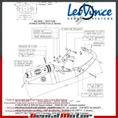 KYMCO BET & WIN 50 liquid cooled  LEOVINCE ESCAPE COMPLETO HAND MADE TT ALU 4048