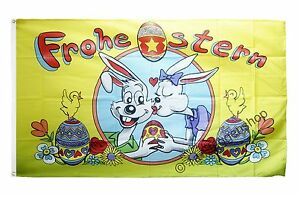 Fahne Flagge Frohe Ostern Hasen und Eier Oster Hissflagge 90x150cm