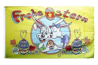 Fahne Flagge Frohe Ostern Hasen und Eier Oster Hissflagge 90x150cm