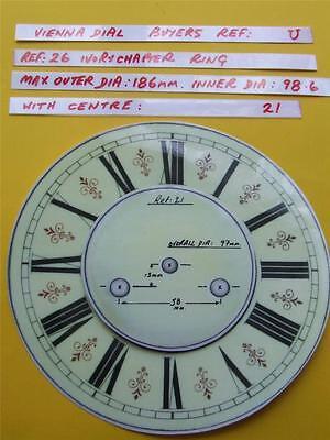 Replacement laminate Ivory  Vienna Regulator Clock Dial option 19 Buyers Ref:U
